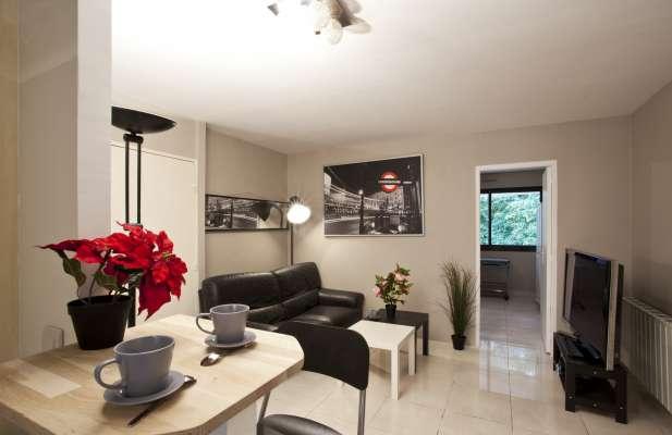 Grand salon jouxtant la cuisine avec canapé en cuir et grande télévision pour les soirées entre colocs